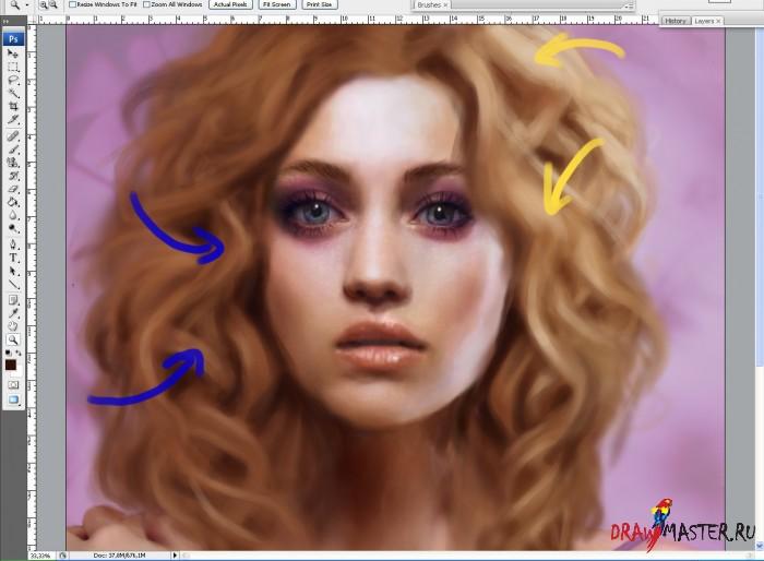 Рисуем Волнистые Волосы