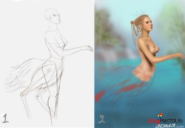 Как рисовалась Девушка-птица (Фламинго)
