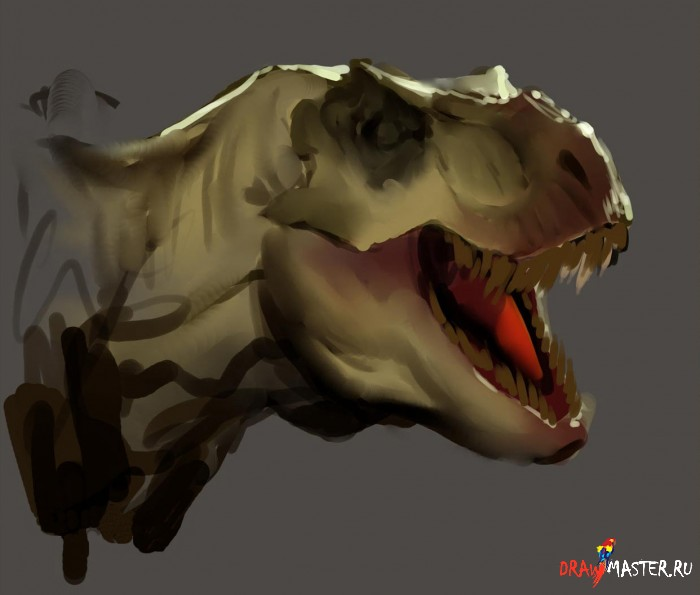 Как нарисовать голову Динозавра
