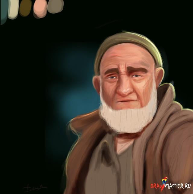 Рисуем портрет Пожилого Мужчины / Старика
