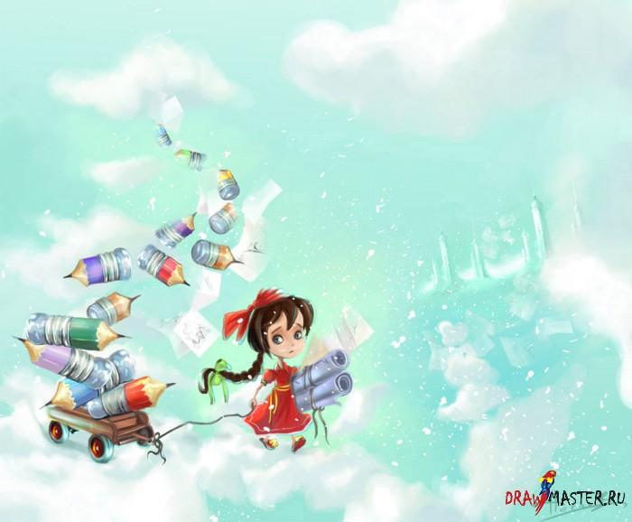 """Как рисовалась иллюстрация """"Девочка в облаках"""""""