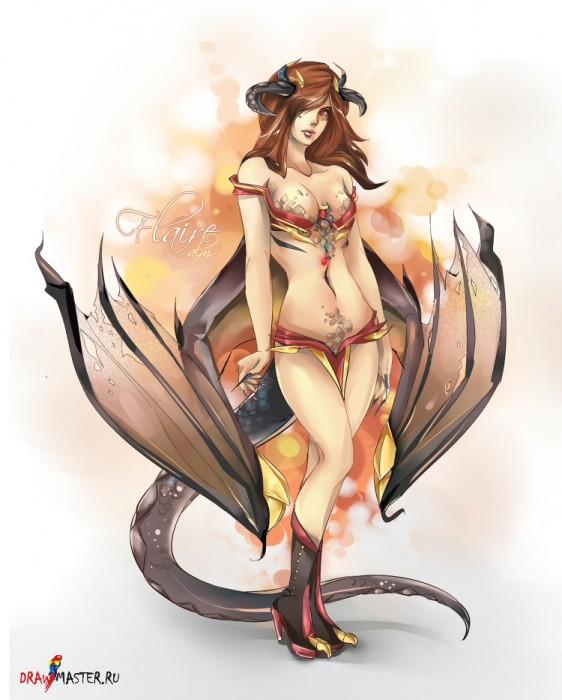 Как нарисовать девушку-дракона Королеву Флэр (Flair)