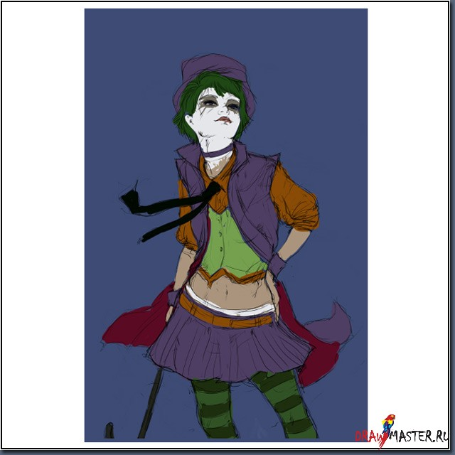 Как нарисовать Девушку-Джокера