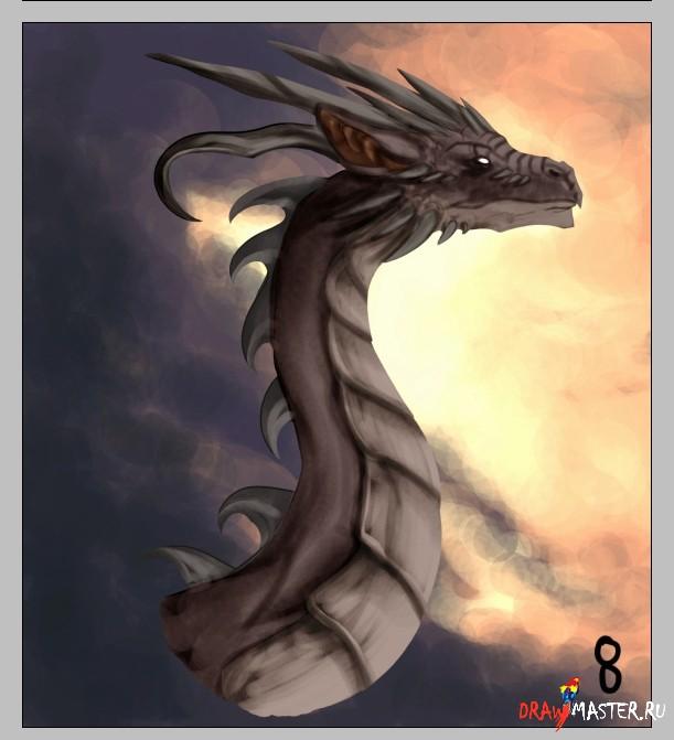 Как нарисовать голову и шею Дракона