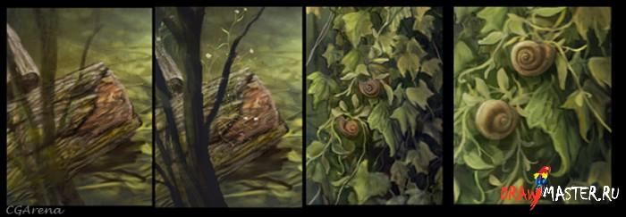 Рисуем картину с разнообразной листвой