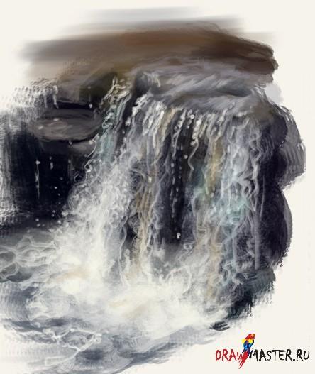 Рисуем стекающую Воду / Водопад