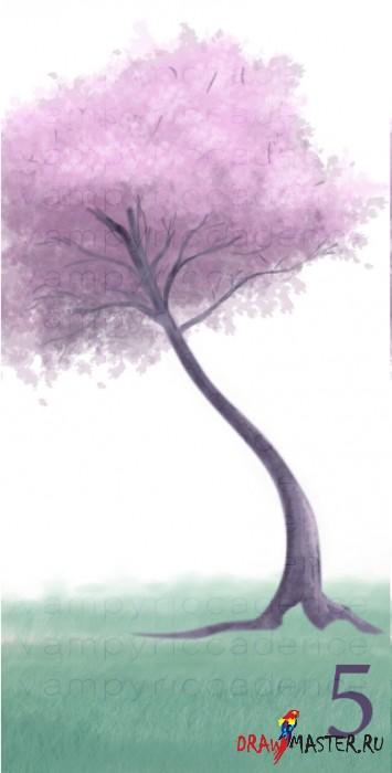 Как нарисовать Сакуру на ветру