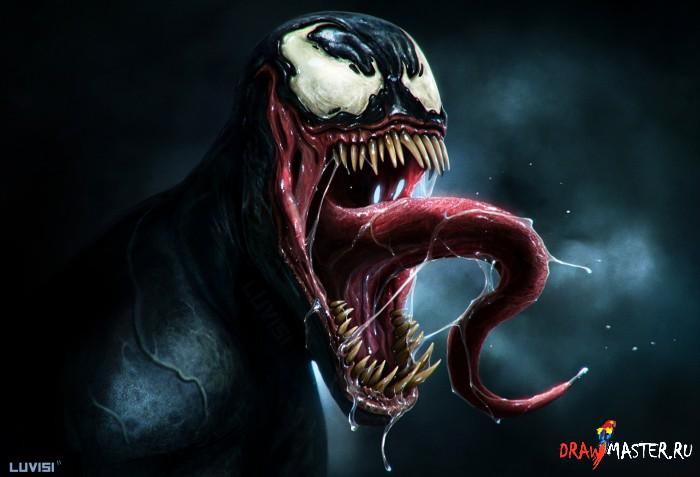 Как нарисовать персонажа комикса Человек-Паук – ВЕНОМА (Venom)