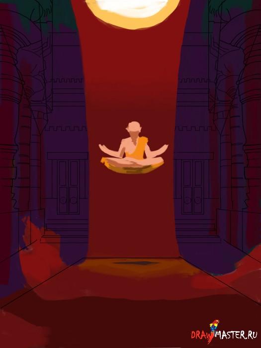 Как нарисовать картину «Молитвы Монаха»