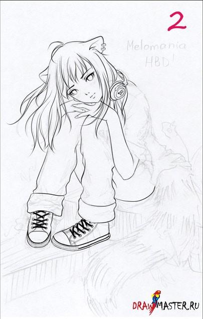 Рисуем в стиле аниме девочку-кошку (Нека)