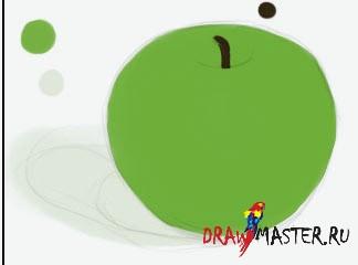 Как нарисовать зеленое яблоко