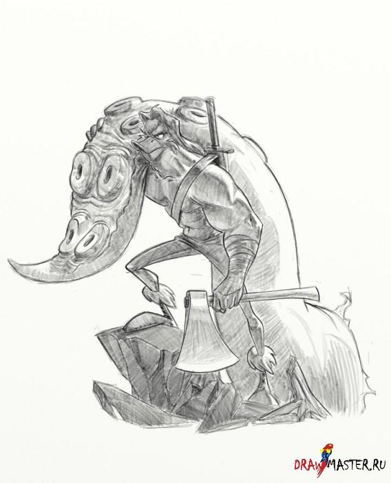Рисуем варвара - Пошаговый урок