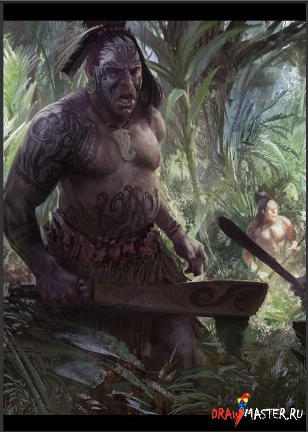 Рисуем воинов Маори