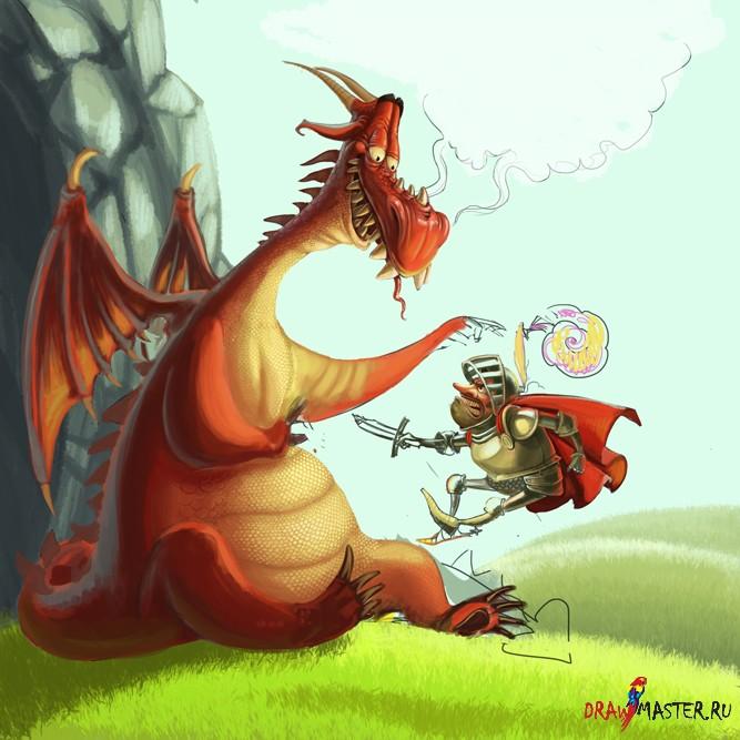 """Рисуем картину """"Дракон и рыцарь"""""""