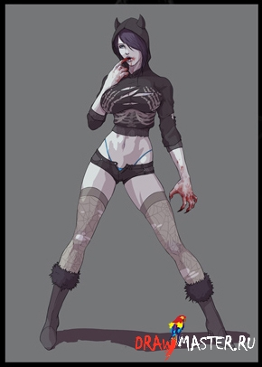 Как нарисовать Девушку-Зомби