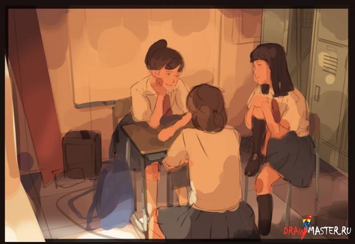 Как рисовалась «Клубная комната» в реалистичном аниме-стиле