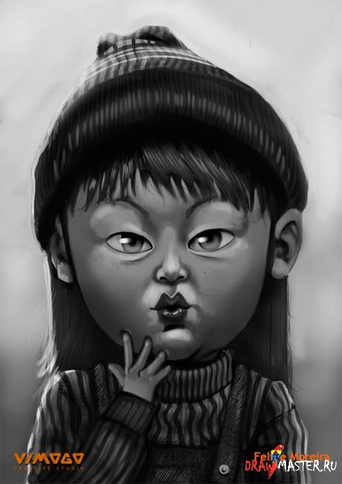 Как нарисовать персонажа манги Арале (Arale)