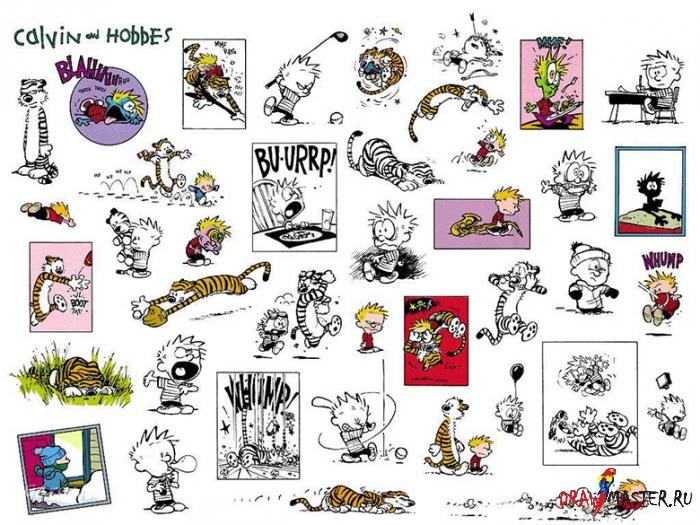 Как нарисовать персонажей комикса «Кельвин и Хоббс» (Calvin & Hobbes)