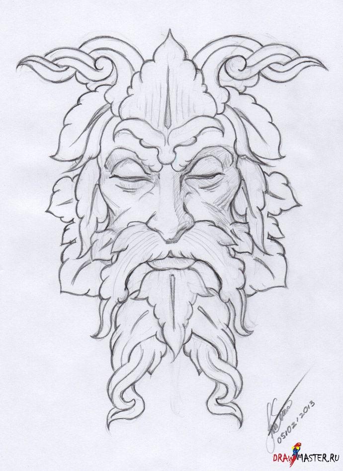 Як намалювати скульптуру Зеленого Людини (Green Man) - уроки малювання