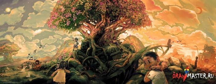 Как нарисовать иллюстрацию «Рай захламленного Дерева»