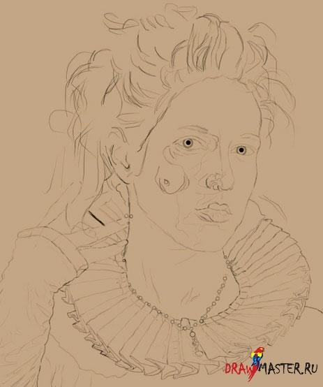 Как нарисовать портрет королевы Елизаветы Тюдор