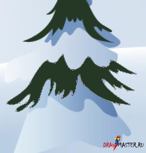 Как нарисовать Новогоднюю открытку с елками
