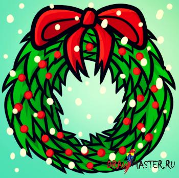 Как нарисовать Рождественский венок