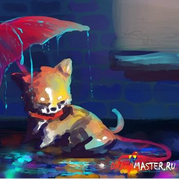 Как нарисовать Щенка под дождем