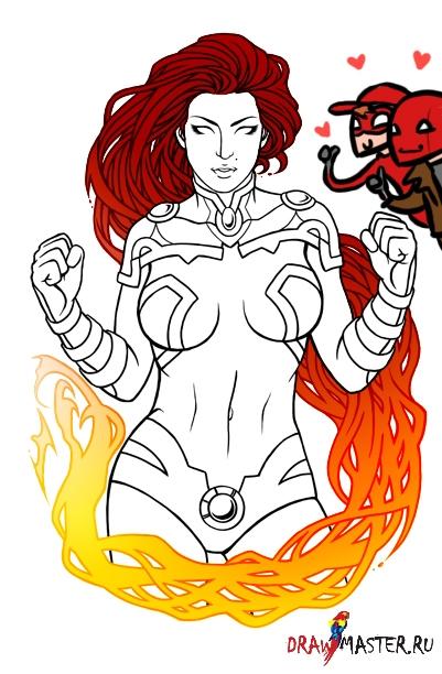 Как нарисовать Супер-героя. Персонаж StarFire