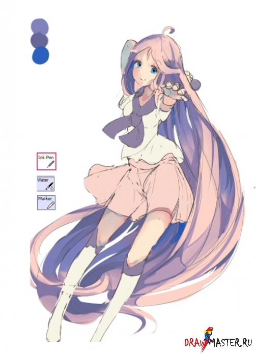 Как нарисовать персонажа Аниме с длинными волосами