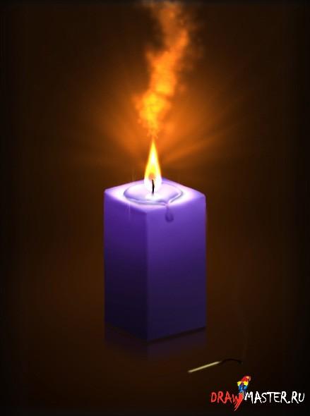 При помощи Burn Tool (Highlights, 50 %) мы нарисуем тень от свечи.