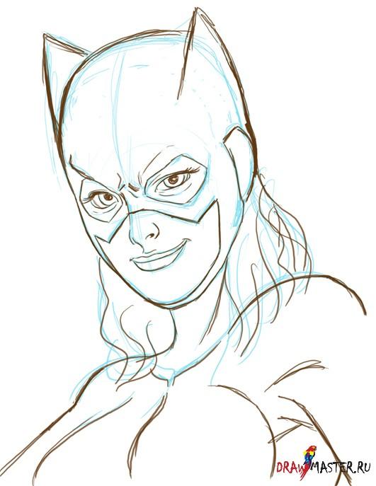 Как нарисовать Девушку-Летучую мышь (Bat girl.