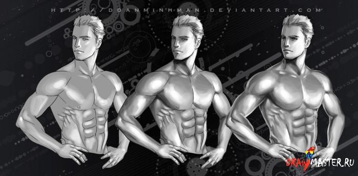 Как нарисовать парня / мужчину с красивым, сексуальным телом в стиле реалистичного комикса