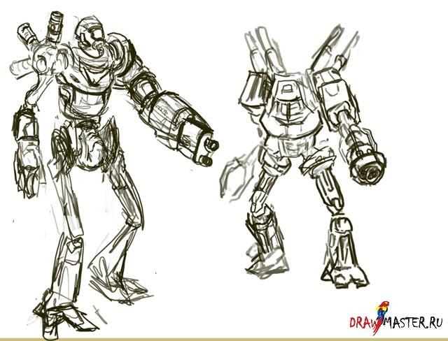 Нарисовать робота поэтапно
