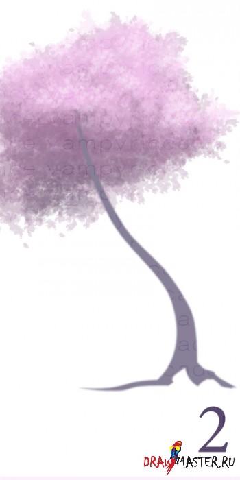 как нарисовать сакуру дерево -