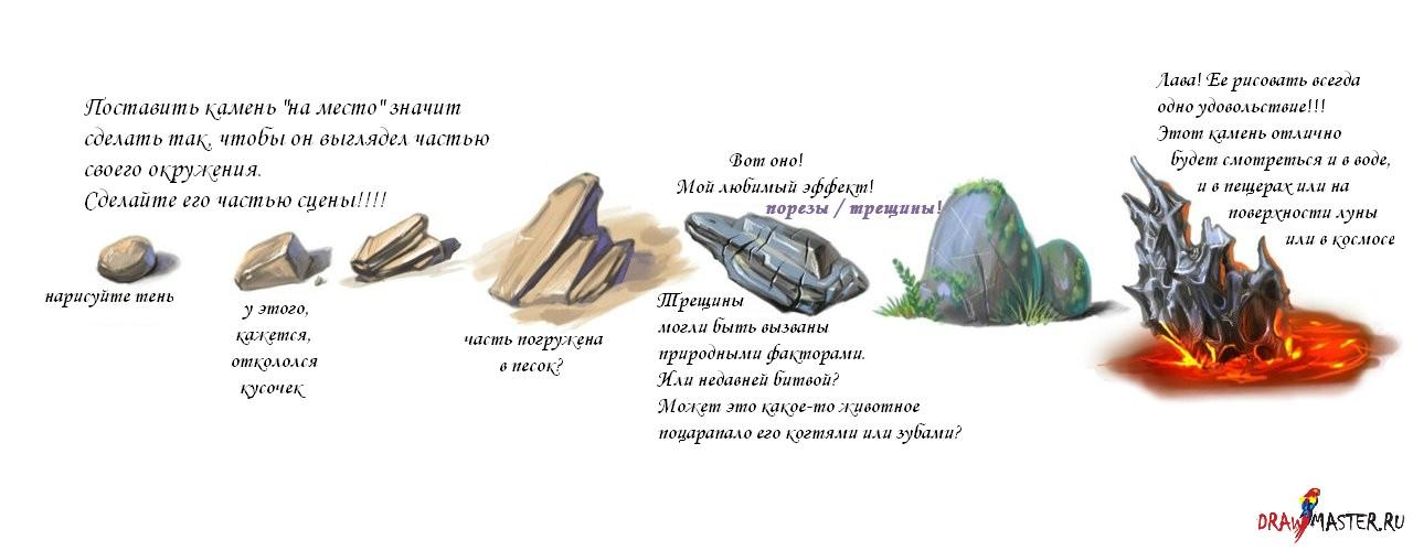 камни валуны рисунок