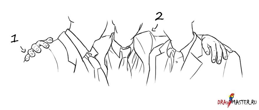 Рука на плече как рисовать