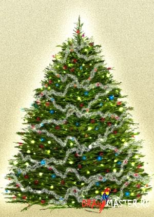 Гирлянда на елке в фотошопе